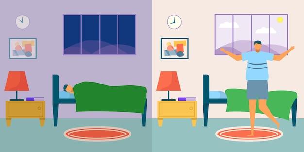 Sveglia illustrazione vettoriale uomo giovane personaggio maschile riposo a letto persona dormire di notte camera da letto con c...