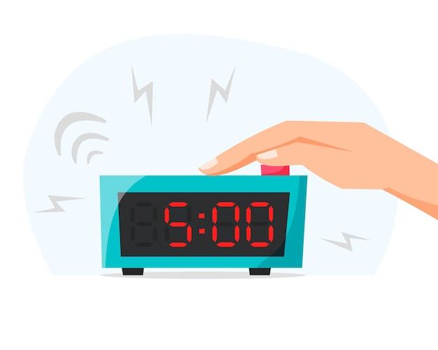 Svegliarsi presto la mattina spegnere la sveglia premendo il pulsante sull'orologio elettronico