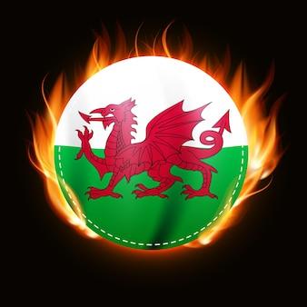 Bandiera del galles in fiamme emblema del paese