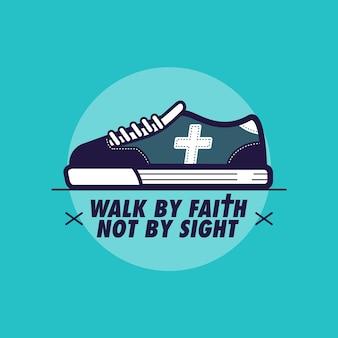 Cammina per fede non per visione Vettore Premium