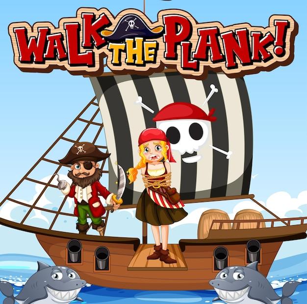 Banner di carattere walk the plank con ragazza pirata in piedi sulla tavola