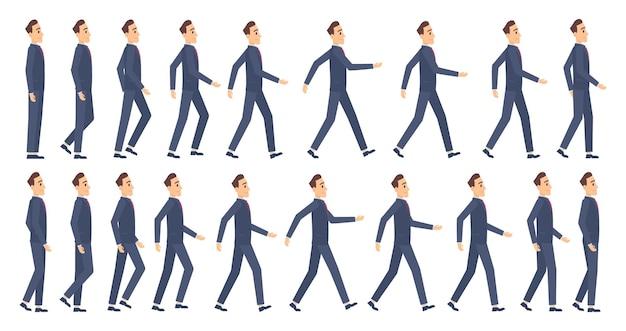 Animazione a piedi. personaggi aziendali 2d fotogrammi chiave di animazione gioco cartone animato sprite mascotte.
