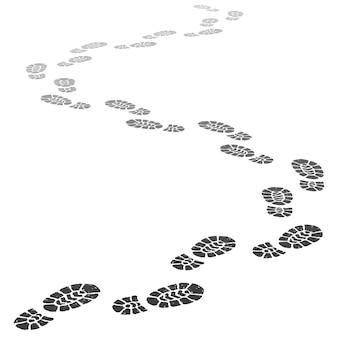 Allontanando i passi. siluetta in uscita di impronta, stampe del passo e passi della scarpa che vanno nell'illustrazione di prospettiva