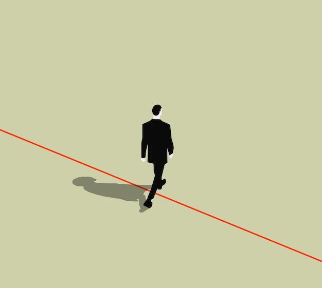 Uomo d'affari ambulante che attraversa la linea rossa rischio aziendale o fuori cornice o concetto di corruzione