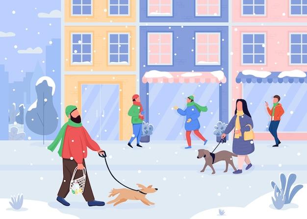Cane che cammina in colore piatto invernale. tempo nevoso. nevicate leggere. negozi chiusi. uscire con l'animale domestico. personaggi dei cartoni animati di natale 2d con città di vacanza sullo sfondo