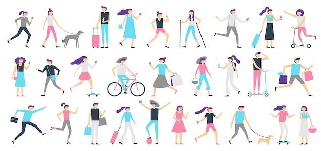 Gente che cammina. l'uomo e la donna camminano con il cane alla città, la ragazza che esamina lo smartphone ed il ragazzo con l'illustrazione isolata pattino