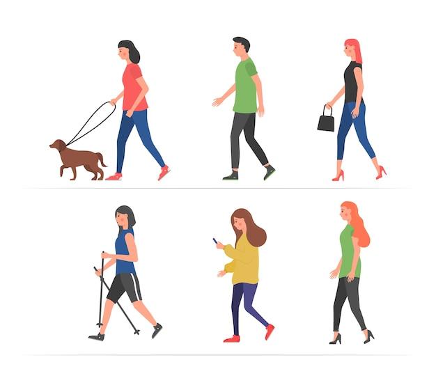 Persone che camminano. vari personaggi attività fisica all'aperto. persone per strada in diverse situazioni di attività - cane che cammina, corre, si rilassa. umani che passeggiano con gli smartphone.