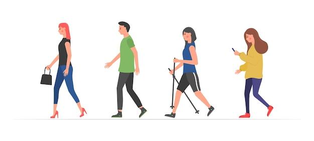 Persone che camminano. vari personaggi attività fisica all'aperto.