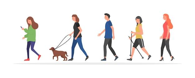 Persone che camminano. vari personaggi.