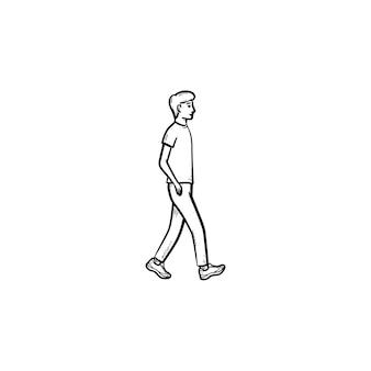Icona di doodle di contorni disegnati a mano di persona a piedi. pedonale, ricreazione, attività a piedi, concetto di stile di vita sano. illustrazione di schizzo vettoriale per stampa, web, mobile e infografica su sfondo bianco.
