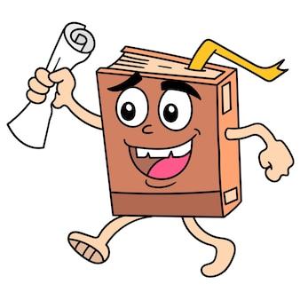 Libri di scienze ambulanti che ridono portando un pezzo di carta, doodle disegnare kawaii. illustrazione vettoriale arte