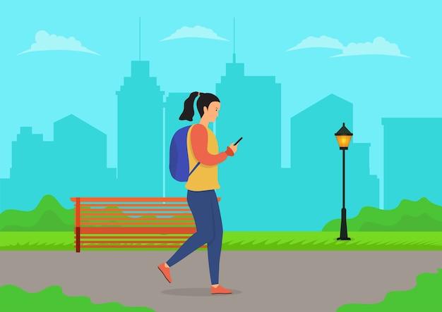 Donne che camminano utilizzando il telefono cellulare nel parco cittadino. illustrazione piatta