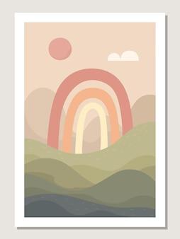 Arte astratta da parete con arcobaleno e paesaggio. motivi e forme arcobaleno astratti per collage, poster, copertine, perfetti per la decorazione murale. vettore.