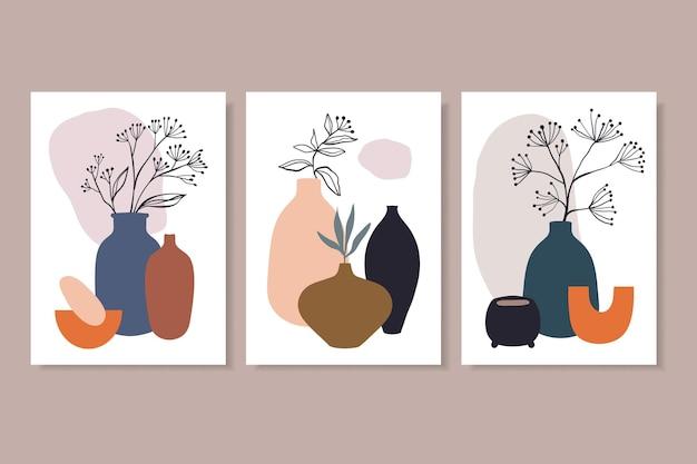 Decorazione di arte della parete linea arte piante e vasi minimalista contemporaneo