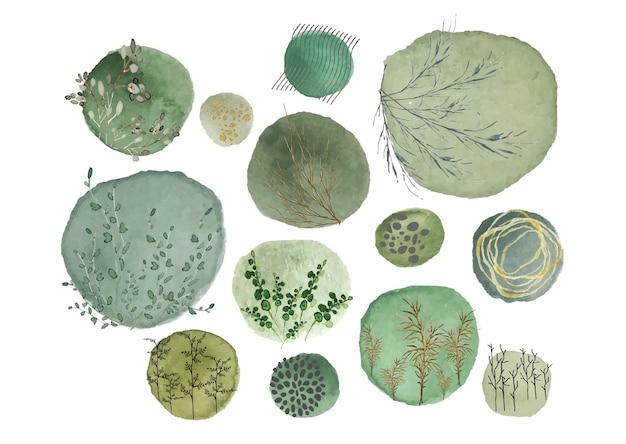 Arte della parete natura verde acquerello