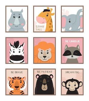 Illustrazione degli animali della scuola materna di arte della parete
