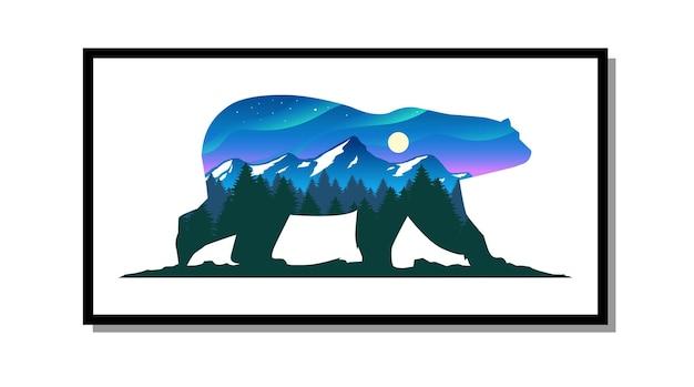 Arte murale di orso polare con sfondo naturale