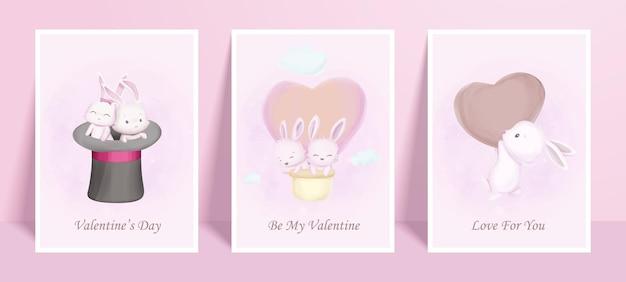 Wall art print poster di animali carini bunny valentine day