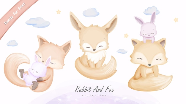 Wall art print cute animal rabbit and fox illustration