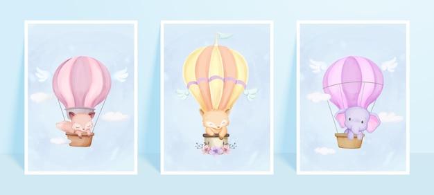 Stampa artistica da parete simpatico animale con poster di mongolfiera