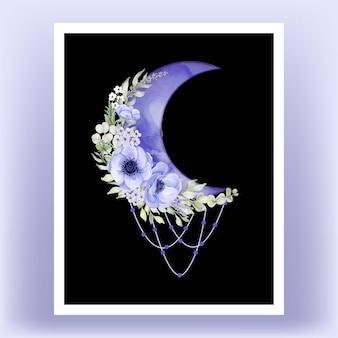 Wall art pronto per la stampa. mezza luna dell'acquerello con fiore di anemone viola