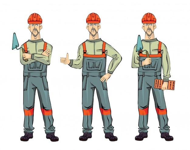 Costruttore di pareti, su sfondo bianco. uomo in piedi in uniforme con spatola e mattoni. set di illustrazione.