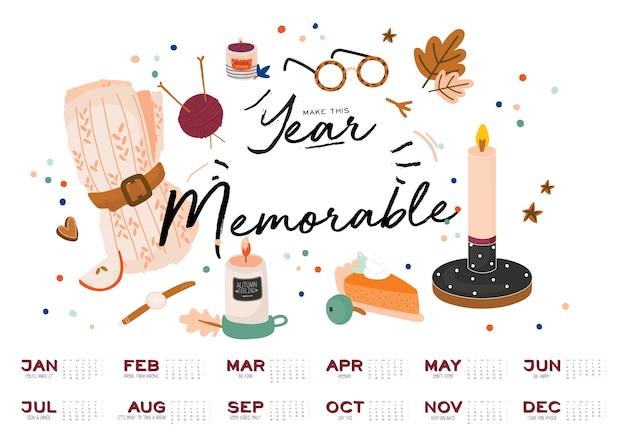 Calendario da parete. agenda annuale 2021 con tutti i mesi. buon organizzatore e programma della scuola.