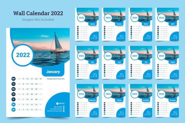 Disegno del modello di calendario da parete 2022