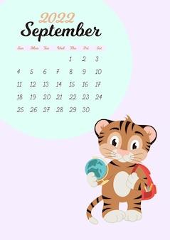 Modello di calendario da parete per settembre 2022. anno della tigre