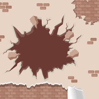 Muro incrinato con vernice distrutta