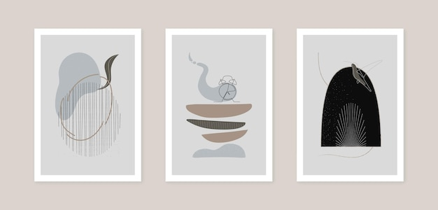 Insieme di set di vettore di arte della decorazione della parete. illustrazione di forma di arte astratta. poster temporaneo alla moda