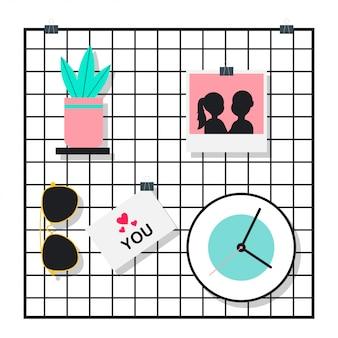 Griglia a muro con occhiali da sole, pianta in vaso, foto e orologio. illustrazione piana del fumetto di vettore isolata