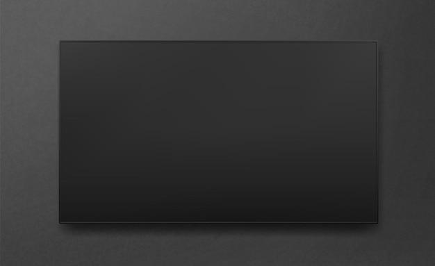 Tv led al plasma ampia da parete nera. tv digitale, schermo lcd vuoto moderno. illustrazione vettoriale.