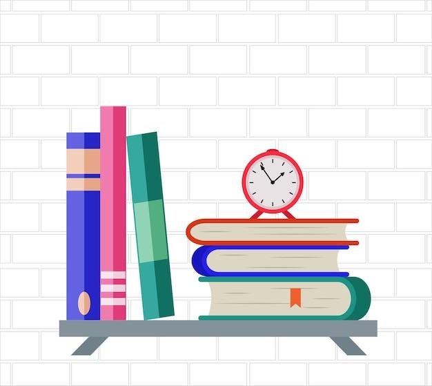 Mensola a muro con pila di libri e sveglia in stile piatto.