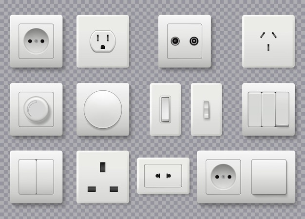 Interruttore a parete. presa elettrica di alimentazione diversi interruttori rotondi moderni collezione realistica.