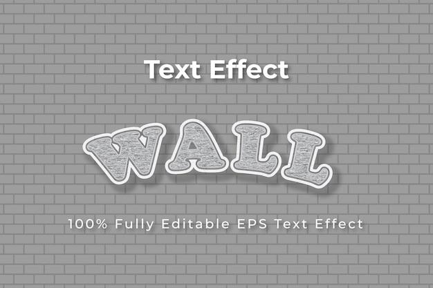 Stile effetto testo vettoriale modificabile 3d in rilievo bianco e grigio a parete