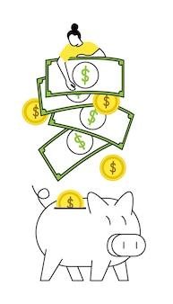 Portafoglio e banconote o monete tempo denaro concetto vettore orologio e clessidra laptop e computer