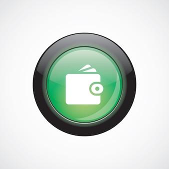 Bottone lucido verde dell'icona del segno di vetro del portafoglio. pulsante del sito web dell'interfaccia utente