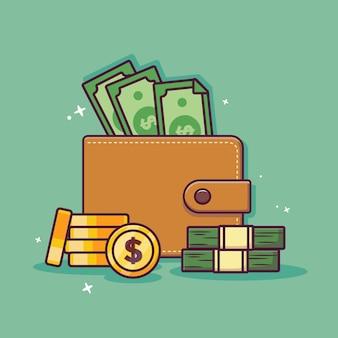 Portafoglio e denaro icona del fumetto con il concetto di risparmio di denaro