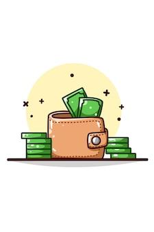 Portafoglio e illustrazione di denaro disegno a mano