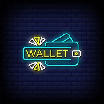 Testo in stile insegne al neon del portafoglio