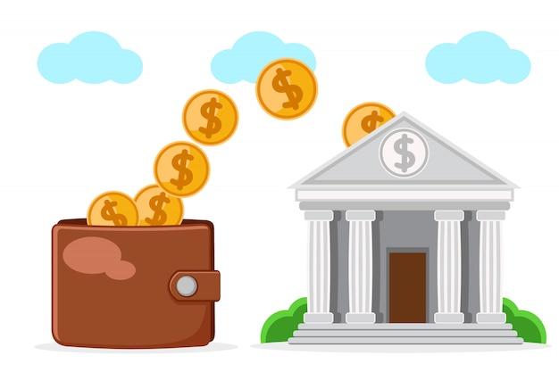 Il portafoglio si riempie di denaro bancario su un bianco.