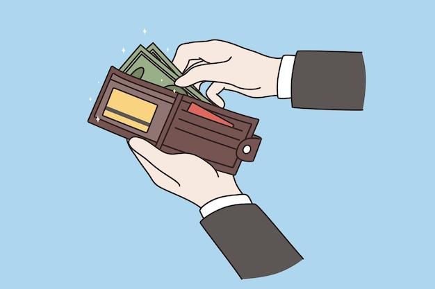 Portafoglio con soldi del concetto di uomo d'affari