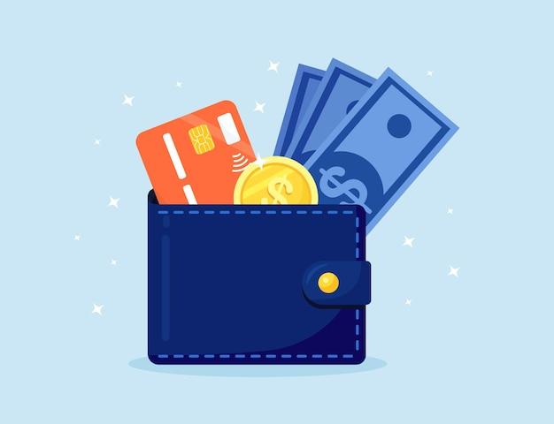 Portafoglio con soldi e carta di credito. contanti, monete e carta di deposito fuoriescono dal borsellino