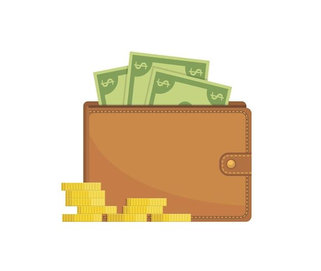Portafoglio con soldi e monete d'oro