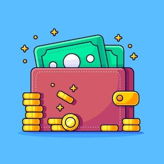 Portafoglio con pile di denaro moneta pagamento in oro affari e finanza icona concetto isolato