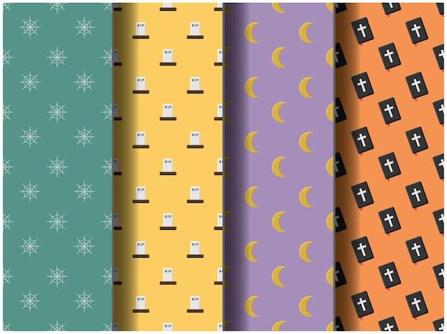 Carta da parati sfondo modello modello icona festa cartone animato poster volantino vettore felice halloween tavolozza