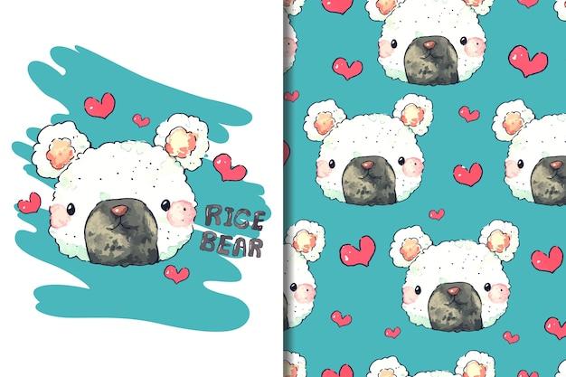 Carta da parati e motivo a forma di orso con palla di riso