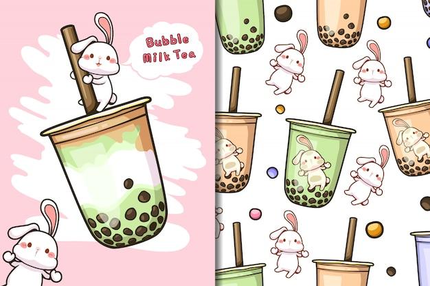 Carta da parati e motivo a bolle di tè al latte con coniglio bianco