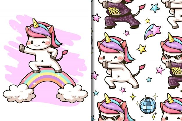 Carta da parati e modello simpatico cartone animato di unicorno e arcobaleno